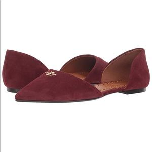 Coach 🍷 Wine Suede Pointed Toe Flats